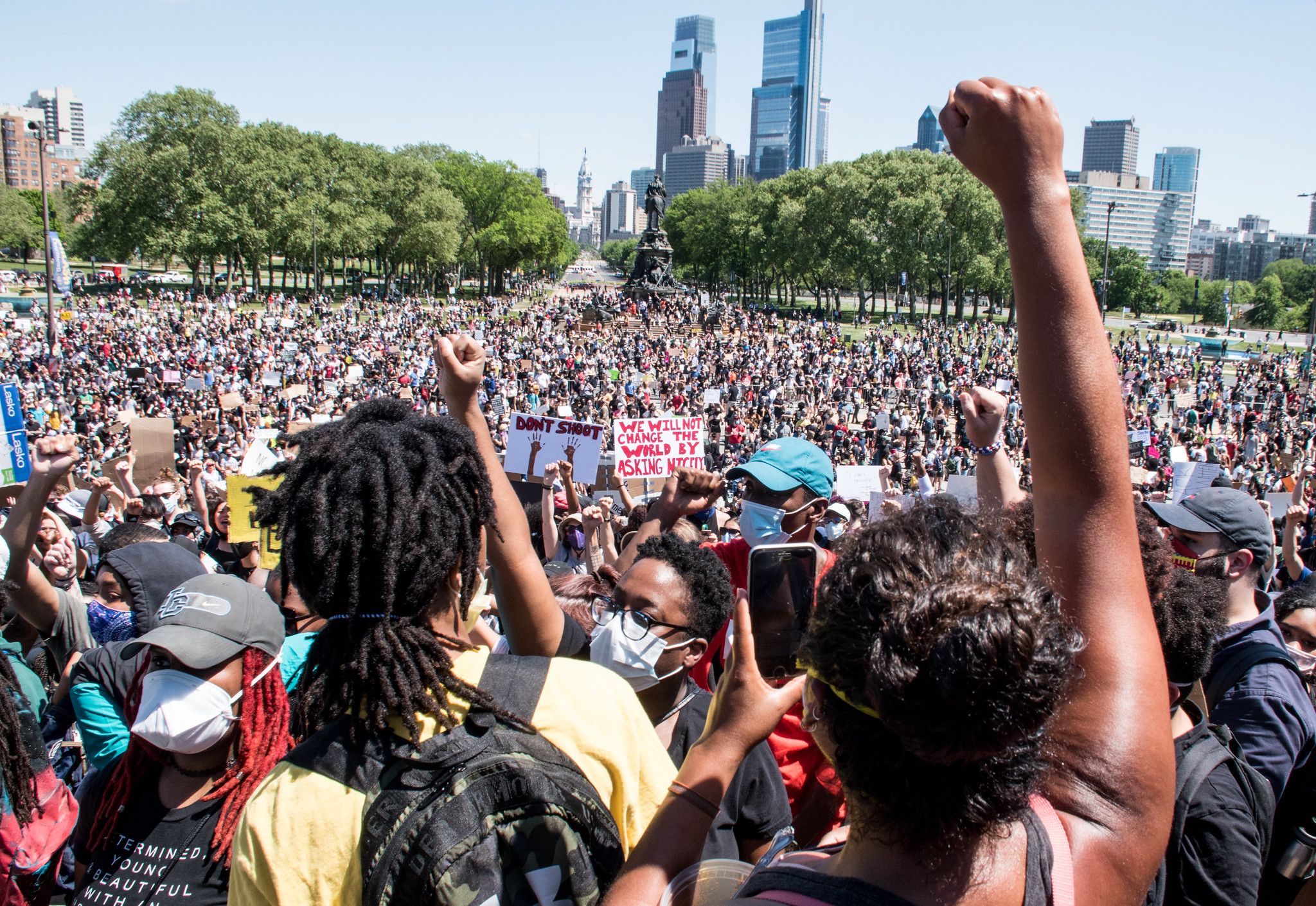 Portrait of protesters at a protest for George Floyd in Philadelphia.